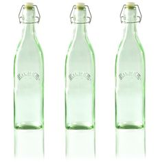 Kilner Clip Top Green Glass Bottle Set Of 3 1L ($17) ❤ liked on Polyvore featuring home and kitchen & dining