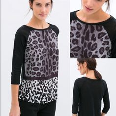 Zara multi-animal print long sleeve T. Soft comfy Zara black long sleeve T with multi animal print front panel. Interior tag has been removed but main T-shirt material feels soft like cotton and animal print front panel feels like polyester. Size large but arms are tight fitting / top runs small so fits more like a M or M/L. Worn once so in great condition. Zara Tops