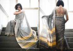 Cotton Sarees - Handloom Grey And Beige By Suta - PC - 15631 - 2