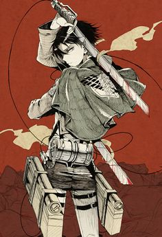 Tags: Anime, Daburyuu, Shingeki no Kyojin, Levi, Red Background, Three Dimensional Maneuver Gear