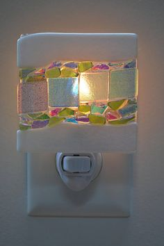 Iridescent White and Dichroic Pieces Fused Glass Night Light