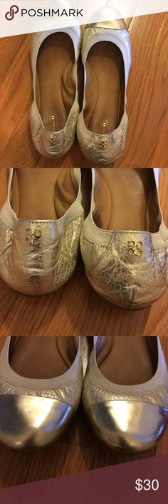 Coach Ballet Flats Gold, EUC. So comfortable! Coach Shoes Flats & Loafers