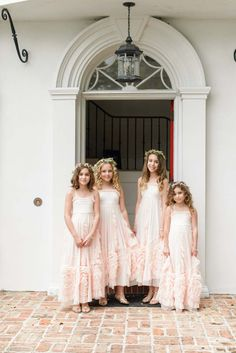 Blush Junior Bridesmaid Dresses - Navy and Pink Lakefront Wedding - Orange Blossom Bride - Photographer: Bumby Photography - Click Pin for More - www.orangeblossombride.com