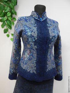 Пиджаки, жакеты ручной работы. Ярмарка Мастеров - ручная работа. Купить Жакет валяный синий двусторонний. Handmade. Темно-синий