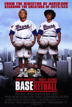 Baseketball 27x40 Movie Poster (1998). CAST: Trey Parker, Matt Stone, Yasmine Bleeth, Jenny McCarthy, Ernest Borgnine, Dian Bachar, Robert Vaughn, Bob Costas, Al Michaels, Reggie Jackson, Robert Stack, Steve Garvey, Kareem Abdul-Jabbar; DIRECTED BY: David Zucker; WRITTEN BY: David Zucker, Robert Locash, Jeffrey Wright, Lewis Friedman; CINEMATOGRAPHY BY: Steve Mason; MUSIC BY: Ira Newborn; EDITING: Jeff Reiner; ART DIRECTION: William Hiney. PRODUCER: David Zucker, Gil Netter, Robert …
