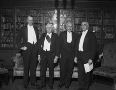 Gathering of Genius  Sinclair Lewis, Frank Kellogg, Albert Einstein, and Irving Langmuir stand together at the Hotel Roosevelt in New York in 1933. All are Nobel Prize winners, and have gathered to celebrate the 100th anniversary of Alfred Nobel's birth.