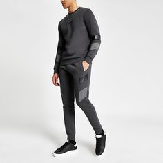 Shop our new Maison Riviera grey blocked sweatshirt at River Island today. Order now for Free Click & Collect and Delivery (Ts&Cs apply). Slim Joggers, Collar Shirts, Hoodies, Sweatshirts, Style Guides, River Island, Cotton Fabric, Crew Neck, Sporty