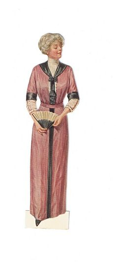 vintage lady fashion. Woman wearing dark pink with white and black and a fan.
