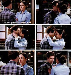 Jake and Amy kiss, Brooklyn nine nine. <3 (credit goes to Kelly-kapoor via a tumblr post.)