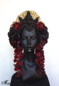 Items similar to Red & Black Flower Headdress with Swarovski Crystals on Etsy Tribal Fusion, Flower Headdress, Mode Costume, Mode Vintage, Hanfu, Headgear, Belly Dance, Headpieces, Costume Design