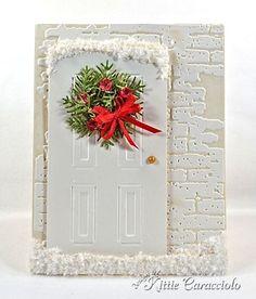 Fabulous Kittie Caracciolo Xmas card - using Sizzix Door and Wreath