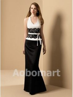 87078a5ffab Empire V-neck Floor-length Satin Lace Bridesmaid Dress - US 119.00 Prom  Dresses