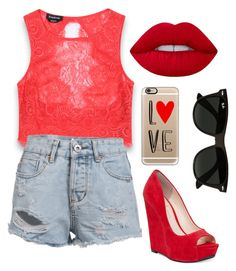 """""""Red❤️❤️"""" by princessemmaxoxo on Polyvore featuring Bebe, Jessica Simpson, Lime Crime, Casetify and Ray-Ban"""