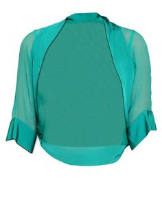 FUEGO WOMAN green silk chiffon shrug with viscose profiles, elbow sleeves and studs on cuffs.