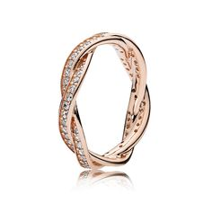 """im thinking of getting a pandora ring as a wedding band love this rose gold """"Twist of Fate"""" Ring"""