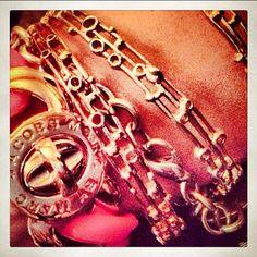 Katie's Atomic bangle stack.  #jewelry #atomic #gold #bracelet #bangle #bracelet #janesko