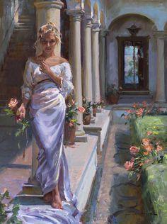 Gerhartz, Daniel F (b,1965)- Woman in Indoor Garden w Rose