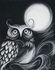 Chalk Owl on black paper. Black Paper Drawing, Charcoal Art, Charcoal Drawings, White Charcoal, Charcoal Sketch, Black White, Chalk Pastels, Chalkboard Art, Chalk Art
