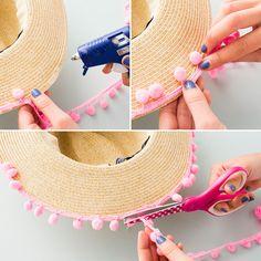 Add some pom pom trim to your beach hat.