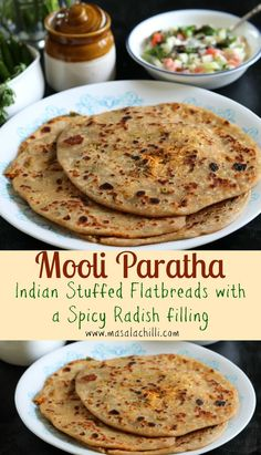 Mooli parathas are popular Indian Stuffed flatbreads made with whole wheat flour dough and a spicy radish filling. Eaten piping hot with a side of pickle and cool curd or yogurt. A perfect winter breakfast treat. Vegetarian Breakfast Recipes, Vegetarian Cooking, How To Make Bread, Bread Making, Radish Recipes, Paratha Recipes, Indian Food Recipes, Ethnic Recipes, Indian Breakfast