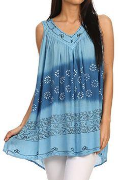 Sakkas 11627 - Lexi Embroidered two tone Sleeveless V neck Top - Blue - OS Sakkas http://www.amazon.com/dp/B00VU1JRE8/ref=cm_sw_r_pi_dp_Ur0Gvb18R7DX9