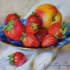 Strawberry Plate by Elena Katsyura Oil ~ 6 in x 6 in