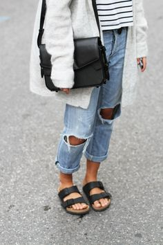 ACNE STUDIOS       raya mohair cardigan (similar here & here) CITIZENS OF HUMANITY       emerson boyfriend jeans (or here & cheaper here) ALEXANDER WANG       stingray trifold bag (similar here) NONAME       striped tee (similar here) BIRKENSTOCK       arizona sandals