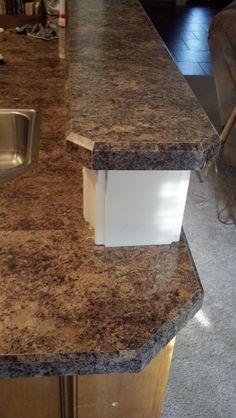 Bevel Edge Laminate Countertop Trim in Formica# 7734 Jamocha Granite