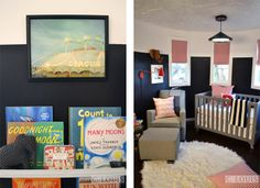 Reality Star Lisa D'Amato hired me to design and decorate her baby's room at the Hollywood Castle. Land of Nod sponsored the room along with Lumber Liquidators. paint from Valspar, fabric from Premier Prints and custom shades from the ReRackGals. Photography by www.Clouiscreativ... / www.Lisadamato.com