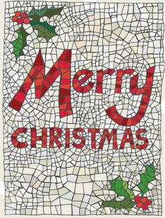 mosaic merry christmas Paper Mosaic, Mosaic Crafts, Mosaic Projects, Mosaic Art, Mosaic Ideas, Christmas Mosaics, Stained Glass Christmas, Stained Glass Art, Happy Holidays Greetings