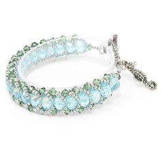 Aquamarine Bracelet, Aquamarine Crystal, Turquoise Bracelet, Crystal Green, Beaded Jewelry Designs, Bead Jewellery, Jewelry Ideas, Diy Jewelry, Crystal Bracelets