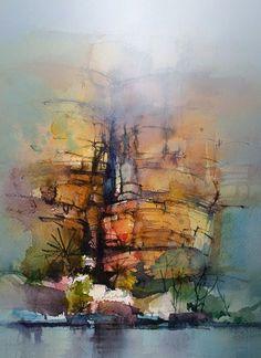 """Photo from album """"John Lovett"""" on Yandex. Watercolor Canvas, Watercolor Artists, Watercolor Landscape, Watercolor And Ink, Abstract Landscape, Watercolour Painting, Landscape Paintings, Watercolours, John Lovett"""