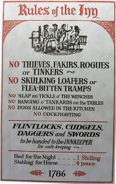 Rules of the Inn. Could adapt something similar for the Tavern Feast in October.