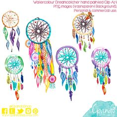 Dreamcatcher hand painted watercolor clip art (6Png images with transparent background 300dpi) boho invitations, hippie desings, feathers.