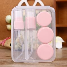 [$1.78] Travel Size Cosmetics Bottles Kit(Pink)