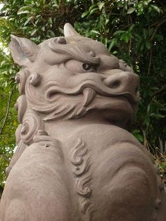 Komainu 狛犬  a pair of guardian dogs (at the gate of a Shinto shrine) Japanese Culture, Japanese Art, Japanese Design, Stone Lion, Lion Dog, Chinese Architecture, Lion Sculpture, Mythology Tattoos, Japanese Mythology
