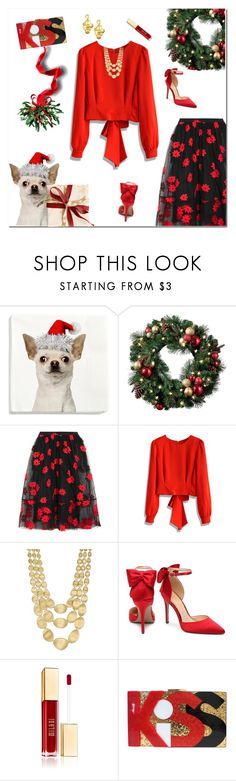 """Christmas Kiss"" by mk-style ❤ liked on Polyvore featuring H&M, Improvements, Simone Rocha, Chicwish, Marco Bicego, Vila Milano and Oscar de la Renta"