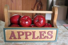 Vintage Apple Crate and Wooden Apples