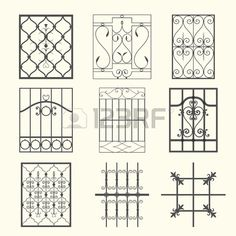 Illustration about A set of exquisite and very clean wrought iron ornamental designs, vector series. Illustration of deco, accent, illustration - 3739695 Iron Window Grill, Window Grill Design, Door Design, Decking Panels, Burglar Bars, Window Bars, Garden Mural, Iron Windows, Cool Deck