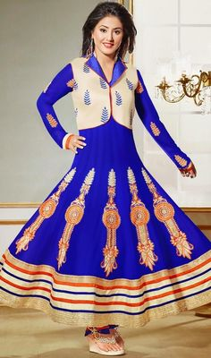 Make An Adorable Statement In Such A Smashy Blue Faux Georgette Salwar Kameez. Beautified With Lace, Patch Work, Resham Work All Synchronized Very Well With All The Design And Style Of The Dress.  #AwesomeBlueKotyStyleDress
