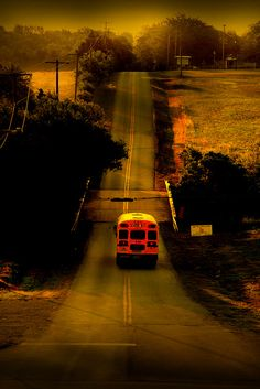 School Bus, such a pretty pic Old School House, Last Day Of School, School Days, Back To School, School Buses, Country School, Country Life, Country Roads, Country Living