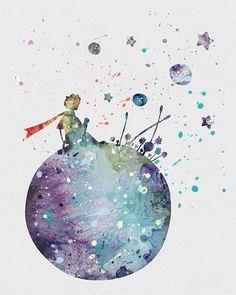Little Prince 2 Watercolor Art: