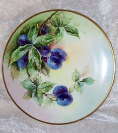 Outstanding Thomas Bavaria 1910 Hand Painted Purple Plums Plate by the Listed Chicago Artist, Helga Mae Peterson Fruit Painting, China Painting, Chicago Artists, Hand Painted Plates, Antique Plates, Fruit Plate, Plate Display, Plate Art, Gold Gilding