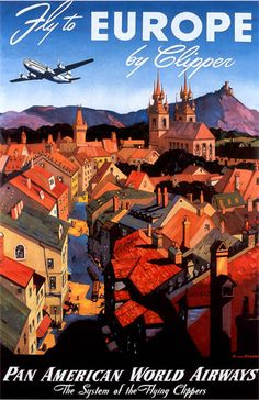 "Pan AM Travel Posters Vintage | Details about Vintage Pan Am ""Europe by Clipper"" Travel Poster"