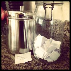 """Summer Fun jar...come up with a bunch of fun """"to do's"""" then draw each day...it's like playing the lottery everyday, exciting & suspense filled ;) And it's also great for people like us who can't ever decide what to do, the jar chooses, lol"""