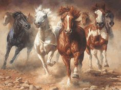 """The Power of Freedom"" by artist Bonnie Marris and you can have it in a fine art edition from The Greenwich Workshop.I want this pose but with my 4 horses and flames like the 4 horses of the apocalypse. Pretty Horses, Beautiful Horses, Animals Beautiful, Painted Horses, Arte Equina, Art Occidental, Horse Artwork, Cowboy Art, Horse Drawings"