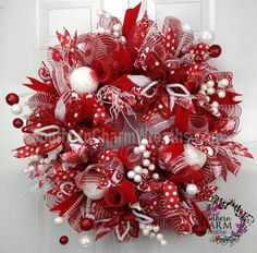 DELUXE Deco Mesh CHRISTMAS Wreath Red White Poinsettias Polka Dot For Door or Wall on Etsy, $164.87