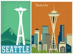 Vintage Seattle space needle posters