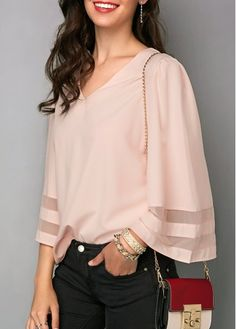 Light Pink Three Quarter Sleeve V Neck Blouse Blouse And Skirt, V Neck Blouse, Crop Blouse, Shirt Blouses, Blouse Styles, Blouse Designs, Look Fashion, Fashion Outfits, Womens Fashion