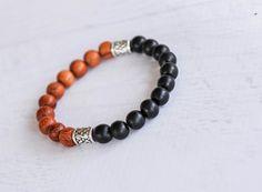 Wood Bead Bracelets Mens Beaded Bracelet от SimplyYelena на Etsy